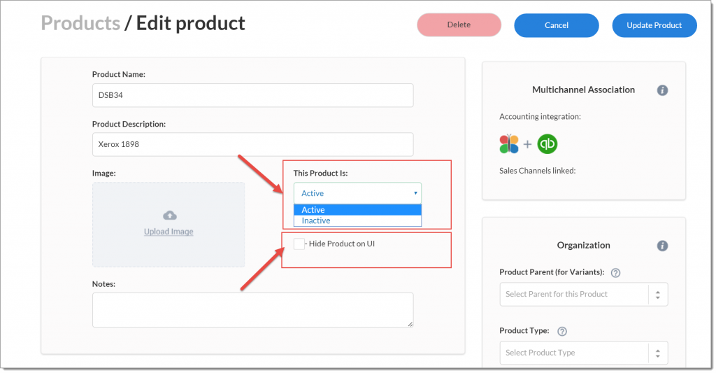 Is it possible to mark product as inactive and remove it from visibility